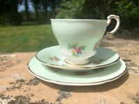 Gorgeous Paragon Trio, pretty rose pattern with mint green very dainty vintage w