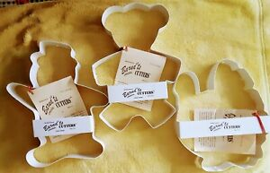"NWT 3 LARGE COOKIE CUTTERS TURKEY SNOWMAN TEDDY BEAR FITS 13 X 9 "" PAN USA made"