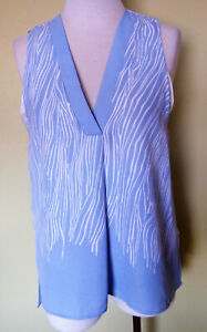 Ladies Sleeveless V-Neck Layered Blouse Shirt Top Blue Print Piper Size 10