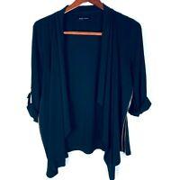 Ivanka Trump Women's Open Front Waterfall Black Blazer Knit Top Side Zip Size M
