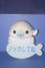 "SAN-X Mamegoma Shirogoma Message Plate Plush Doll 8.4""  Knock"