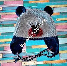 1 PC HANDMADE CROCHET Cozy Soft Plush Baby Winter HAT Teddy bear Ears & Laces