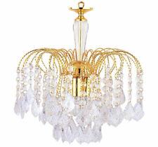 3 Light Polish Brass Finish Acrylic Drops Chandelier Ceiling Light