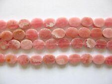 Rhodochrosite flat oval beads 8x10mm