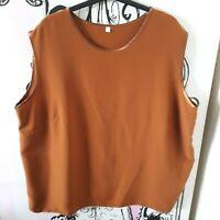 Womens Size 22-24 Brown Satin Sleeveless Vest Top