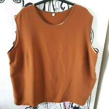 Womens Size 22-24 Brown Satin Sleeveless Vest Top