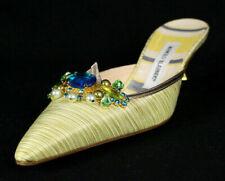 MANOLO BLAHNIK Yellow Jacquard Crystal Pearl Vamp Heels Mules 39.5 NEW