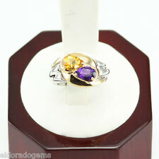 0.65 CT. PEAR AMETHYST & 0.65 CT. PEAR CITRINE 14K WHITE YELLOW GOLD RING US5.5