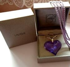 PENDANT LARGE PURPLE/LILAC CRYSTAL HEART& SILVER HALLMARKED CHAIN /SILK CORD NEW