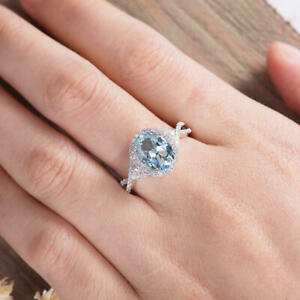 2.50Ct Oval Cut Aquamarine Attractive Halo Engagement Ring 14K White Gold Finish
