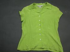 Petite Sophisticate Size S Womens Green 100% Silk Short Sleeve Blouse Shirt 035