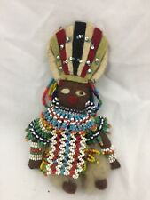 VINTAGE HAND MADE AFRICAN ZULU DOLL CLOTH WITH BEADED OUTFIT & HEADPIECE-7 INCH