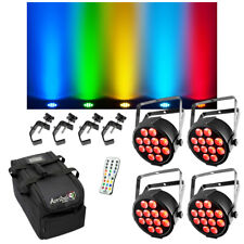 (4) Chauvet DJ Lighting SlimPAR Q12 USB RGBA Wash Light w/ Remote Bag Clamps