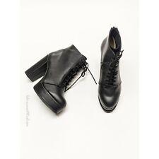 H&M Black High Heel Lace Up Platform Boots Size 5.5 US