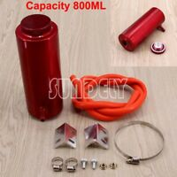 Red Cylinder Radiator Overflow Reservoir Coolant Tank Can Aluminum Alloy 800ml