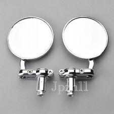 "Motorcycle CNC Aluminum 3"" Round Rearview HandleBar 7/8"" Side Mirrors Chrome J5B"