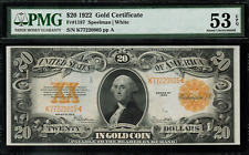 1922 $20 Gold Certificate FR-1187 - Graded PMG 53 EPQ - About Uncirculated