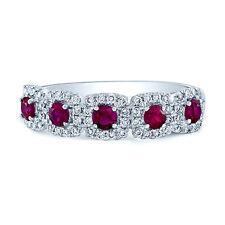0.93 TCW 14k White Gold Natural Round Ruby Diamond Halo Five 5 Stone Ring Band