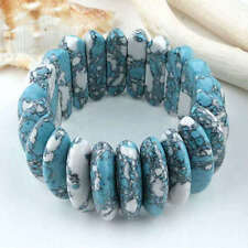 1PC Blue White Howlite Turquoise Stretch Bracelet Womens Jewelry Chic
