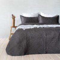 Paisley Floral Charcoal Embossed Coverlet Set By Bambury | fits Queen Or King