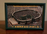 GREEN BAY PACKERS Lambeau Field Framed Postcard Vtg NFL Football Stadium