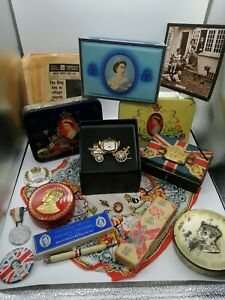 Royal Items - Queen Elizabeth II & Others -Tins - Gold Carriage Clock - Badges