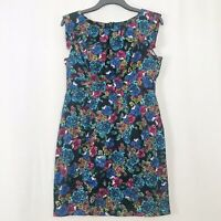 M&S Limited Collection Black Blue & Pink Floral A-line Dress UK Size 14