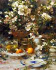 FRAMED CANVAS Art print giclee AZALEAS & ORANGES garden flowers