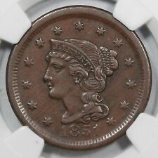 1851 N-41 R-4 NGC AU 53 Braided Hair Large Cent Coin 1c