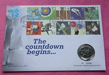 2009 LONDON OLYMPICS COUNTDOWN BEGINS £5 FIVE POUND  BU COIN FDC PNC