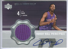 03/04 UD Honor Roll Principals #CH Chris Bosh Rookie Jersey On Card Autograph