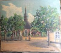 Chiesa in Frederiksberg Copenaghen Danimarca Dipinto a Olio Autografato