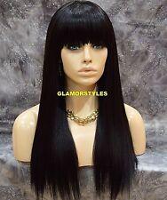 Long Straight W Bangs Jet Black Synthetic Full Wig Heat OK Hair Piece #1 NWT