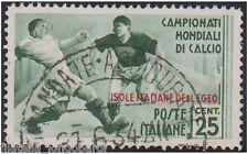 Isole italiale EGEO 1934 mondiali di calcio 25 cent. usato originale S.77 -F415