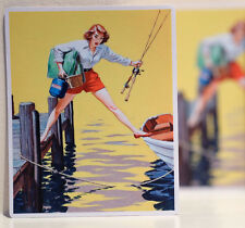 """#3177 Vintage Fishing Boating Pin Up Retro Art luggage label 4"""" Decal Sticker"""