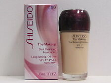 Shiseido The Makeup Dual Balancing Foundation I00 Very Light Ivory Spf17 New