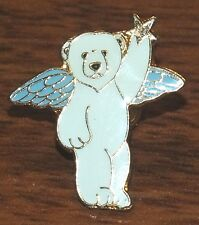 """Ace- White Polar Bear Standing w/ Wings & Star In Hand 1"""" Inch Collectible Pin!"""