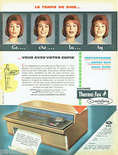 PUBLICITE ADVERTISING 125  1960  Thermo-Fax la machine copieur Secretary