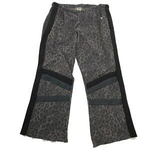 PINK VICTORIA SECRET Boyfriend Wide Leg Sweats Size L Womens Gray Lounge Leopard