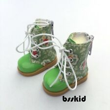 "Y06 BJD Yo-SD 1/6 Dollfie 13"" Effner 12"" Kish Doll Shoes GREEN Floral Boot"