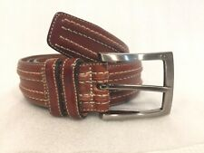 Men's  Belt Top-Stitched Brown LEATHER Size M   36 Steel Buckle