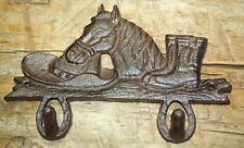 Cast Iron HORSE HEAD Coat COWBOY Hat Hook Plaque Sign Rustic Hooks Man Cave