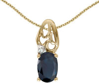 14k Yellow Gold Oval Sapphire and Diamond Pendant (no chain) (CM-P2582X-09)