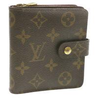 LOUIS VUITTON Monogram Compact Zip Bifold Wallet M61667 LV Auth 15050