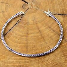 AAA Quality  925 Sterling Silver Jewelry Purple Amethyst Ladie's Tennis Bracelet