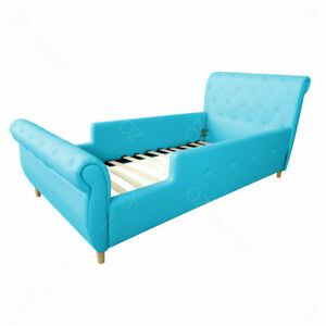 Kids Girls Boys single size Bed PU Leather Single Bed Frame blue bed