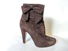 COACH Brown Suede Ankle Heels Boots with Bow   Women's Size 8 B   Italy