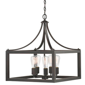 Geometric Chandelier 5-Light Incandescent Dimmable Dry Rated Hardware Included