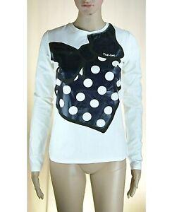 T-Shirt Maniche Lunghe Ragazza/Donna TWIN-SET L089 Bianco/Blu Tg 16anni(s donna)