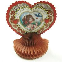 Vintage Valentine Beistle Honeycomb Heart Girl & Blue Bird Stand Up USA 1920-30s